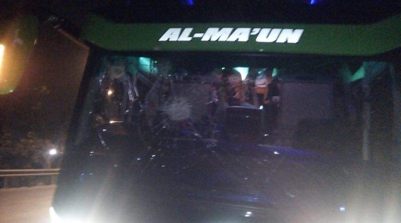 Bus Rombongan Sakeramania Diserang Orang Tak Dikenal di Gempol